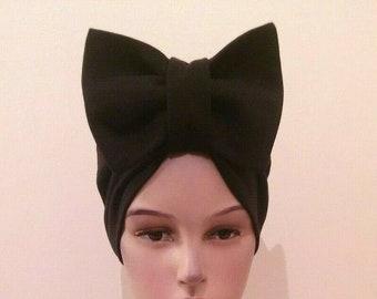 Knotted big bow turban women chemo hat, Elegant Headwrap head cover wear wrap scarf, Vintage retro style, Handmade ladies bohemian