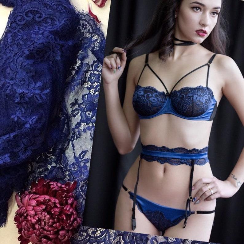 539ab8d50057 Silk Lingerie set Blue Mesh panties Lace balconette Sexy | Etsy