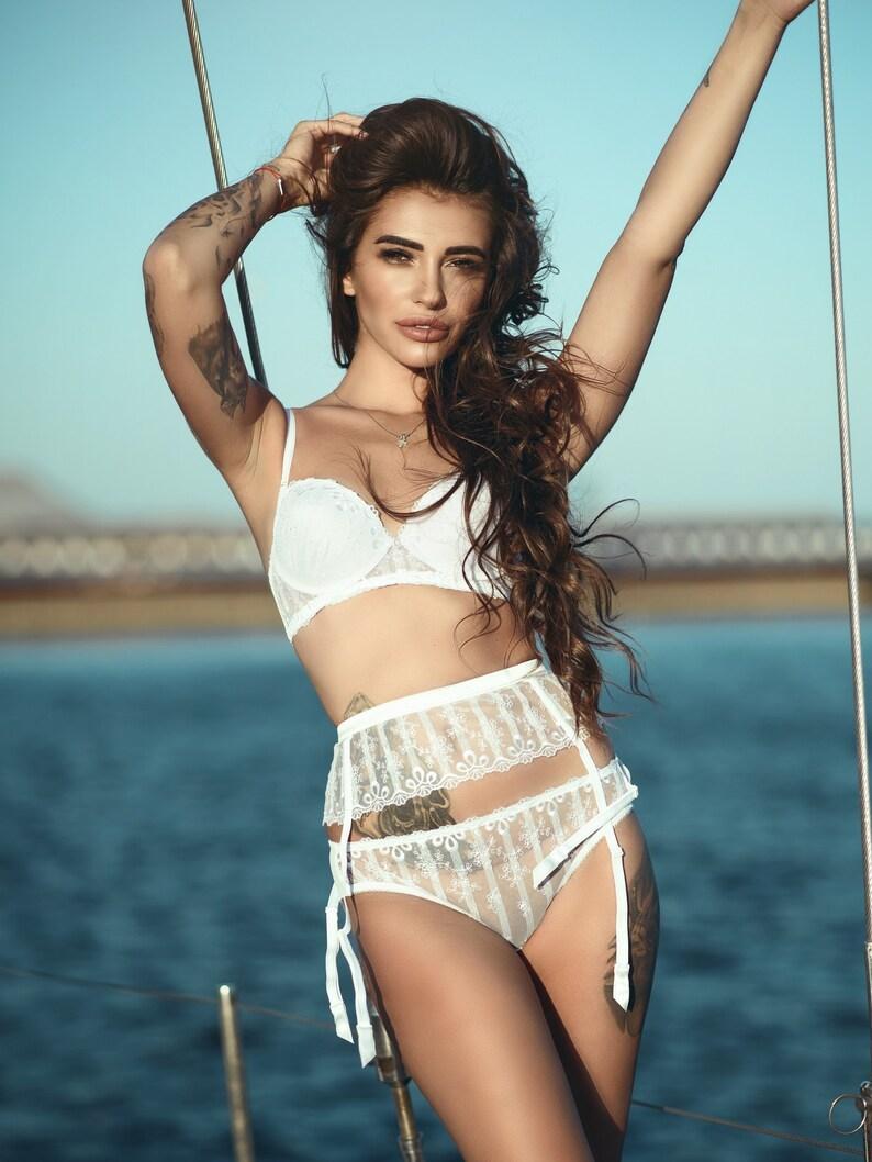 965538f40d6 White Bridal lingerie set Push Up Longline Bra sheer