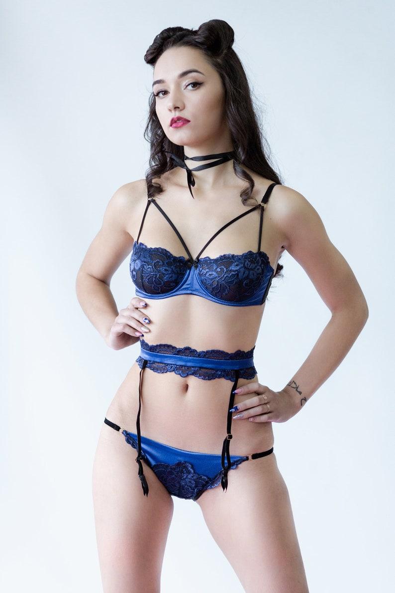 197edc11ee7 Navy Blue silk Lingerie set Mesh panties Lace balconette | Etsy