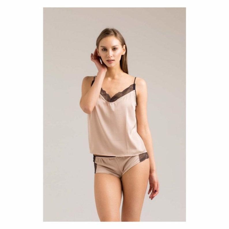 543e40504af Black Lace Silk Pajama Set Camisole Boyshorts Sexy Sleepwear | Etsy