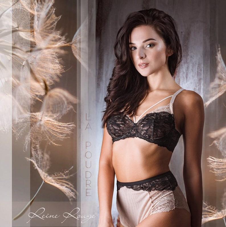 538807395e5 See through lingerie set Black lace Beige mesh bralette Sheer | Etsy