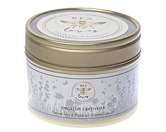 Bea Loves Country House Garden Range Scented Fragrant Natural Soy Wax Pure Beeswax 130g Candle in a Tin: English Lavender