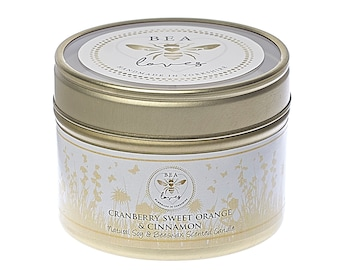 Bea Loves Country House Garden Range Scented Fragrant Natural Soy Wax Pure Beeswax 130g Candle in a Tin: Cranberry, Sweet Orange & Cinnamon