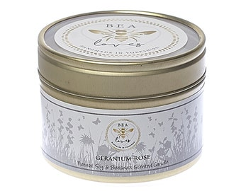 Bea Loves Country House Garden Range Scented Fragrant Natural Soy Wax Pure Beeswax 130g Candle in a Tin: Geranium Rose