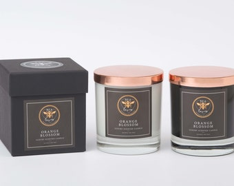 Bea Loves Luxury Jo Malone Inspired Scented Fragrant Natural Soy Wax 475g Candle in Glass Jar Black or White Gift Boxed  : Orange Blossom