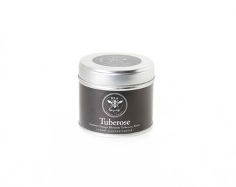 Bea Loves Luxury Diptyque Inspired Scented Fragrant Natural Soy Wax 250g Candle in Tin: Tuberose - Jasmine, Orange Blossom, Tuberose Petals