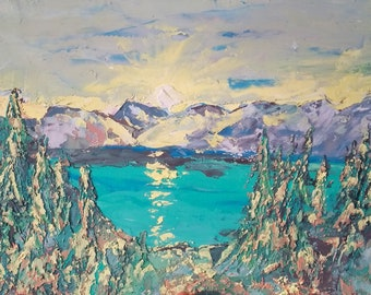"""Lake Tahoe Painting Sequoia Original Art Hiking Impasto 3 d Painting Small 8 by 10"""""""