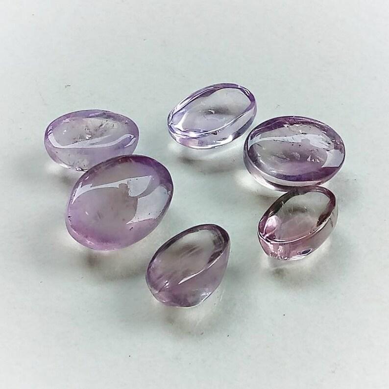 20mm 87cts. 6pcs Lavender Quartz Oval Gemstone Cabochon Natural Stone Lot