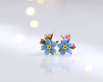Light blue enameled dainty earrings Sterling Forget me Not stud earrings Bridesmaid earrings. Partly oxidized