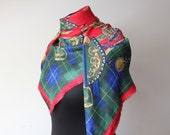 70s Vintage Plaid Equestrian Scarf Square Red Green Blue Tartan Shawl Royal stirrups saddle rider print Scarf Souvenir Woman Mens Unisex