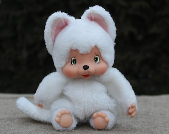 monchhichi friend 1980s toy shabby chic toy stuffed animal plush toy decor Vintage rare white cute Cat kitty Friend VANILLA NYAMY WASHINO