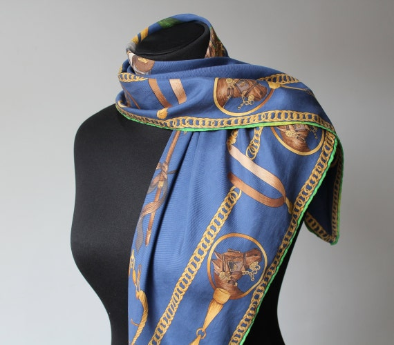 Vintage Equestrian Scarf MEDICI Blue Yellow Squar… - image 4