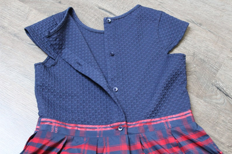 90sVintage Dress,Size Girls 10Y Vintage girl/'s dress, Holiday Season Christmas Party girl Dress Blue Red Girl/'s Plaid Dress