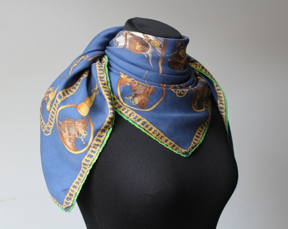 Vintage Equestrian Scarf MEDICI Blue Yellow Squar… - image 6