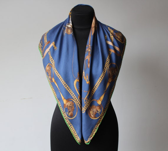 Vintage Equestrian Scarf MEDICI Blue Yellow Squar… - image 5