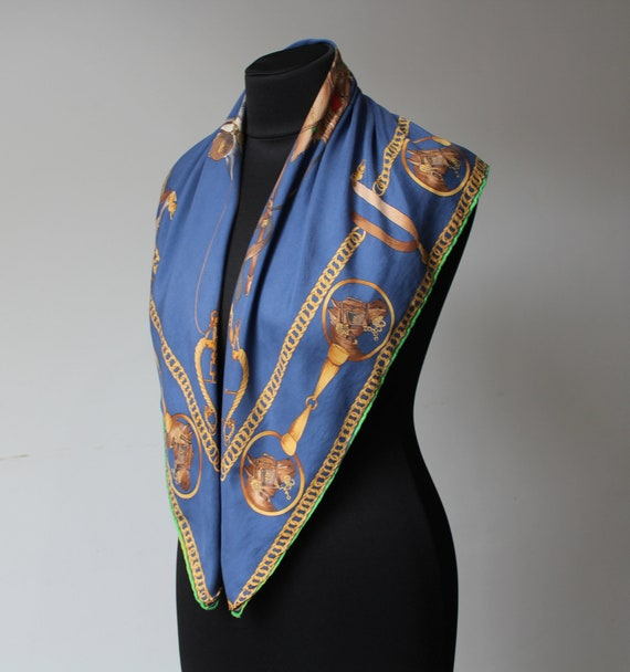 Vintage Equestrian Scarf MEDICI Blue Yellow Squar… - image 2