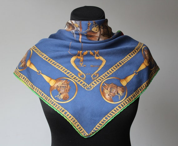 Vintage Equestrian Scarf MEDICI Blue Yellow Squar… - image 3