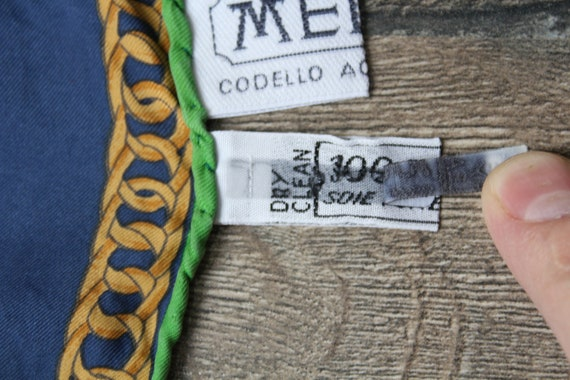 Vintage Equestrian Scarf MEDICI Blue Yellow Squar… - image 10