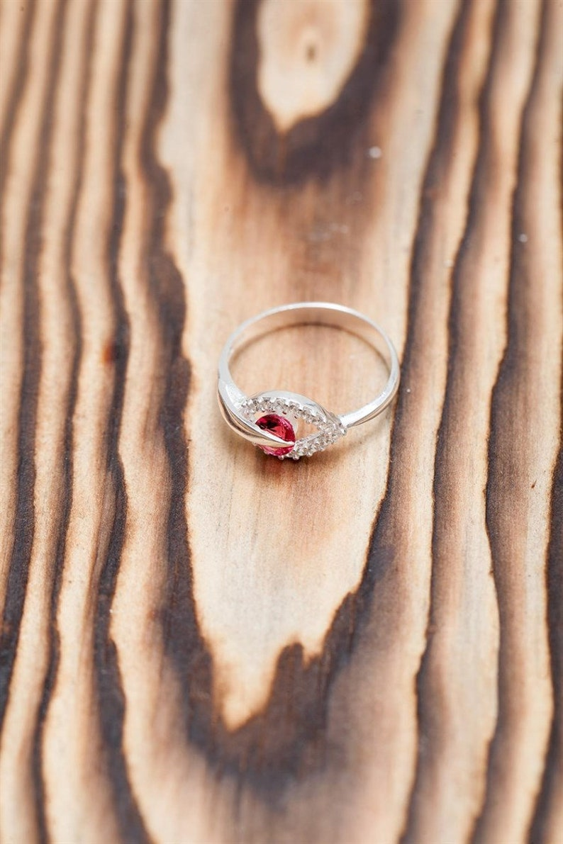Ruby Stone 925k Silver Handmade Woman Ring,Trendy Jewelry Made in Turkey Minimalist Ring