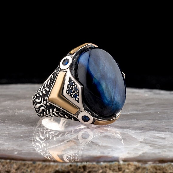 Zircon Ottoman Silver,Handmade 925k  Anchor Model Made in Turkey Outstanding Gift Sterling Silver Man Ring Natural Stone