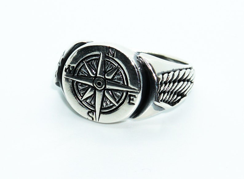 Winged Compass Mens Ring,Silver 925k Mens Ring,Handmade Mens Ring,Jewelry Gift For Mens