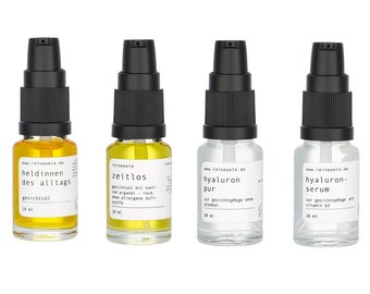 Sample set with our top sellers, Hyalurons serum, heroines, Hyaluron Pure and Timeless, base price 67,6 Euro per 100 ml
