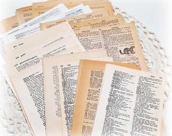 25-100pcs Vintage paper and DIctionary Pages Scrapbook paper