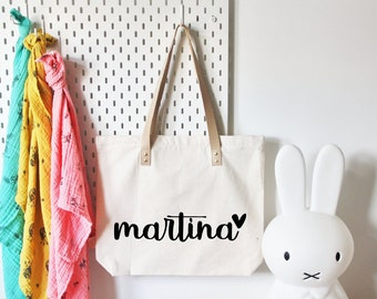 CUSTOM CANVAS BAG for mum with name / canvas taschen mit name fur mamas