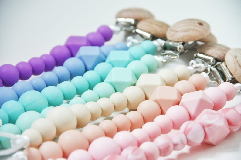 Custom silicone pacifier clip with name for BIBS  silikon schnullerkette mit name  attache tetine