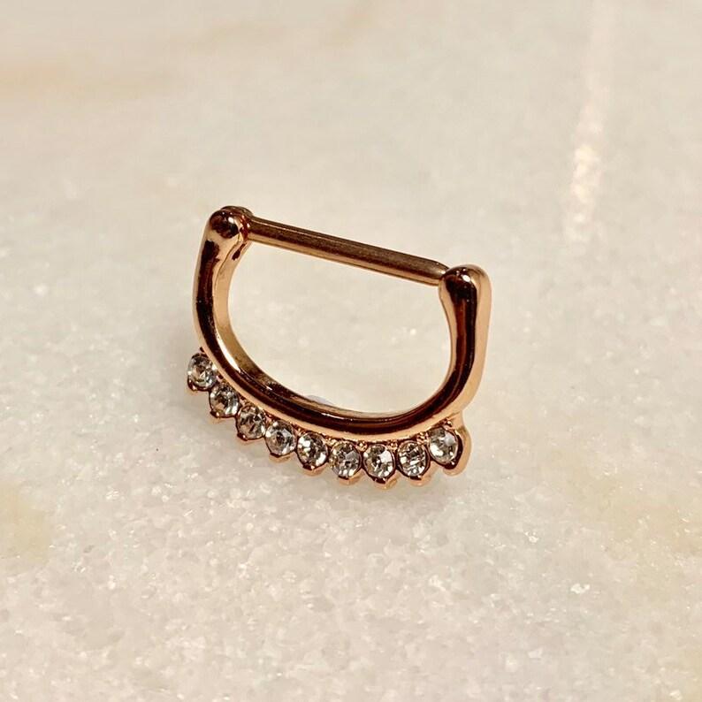 Nipple Jewellery 14g Gemset Rose Gold Nipple Clicker