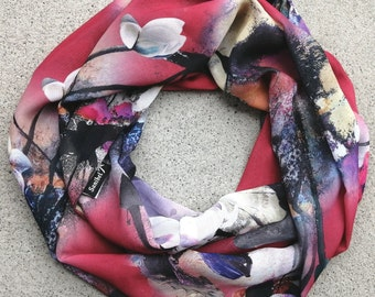 Ultra soft Infinity scarf, double wrap, 4 seasons, light, high quality fabric, so easy to wear, stylish, gift idea, made in Montreal