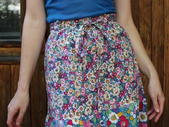 Vintage 70s Floral Skirt Size 7 Medium 100/% Cotton