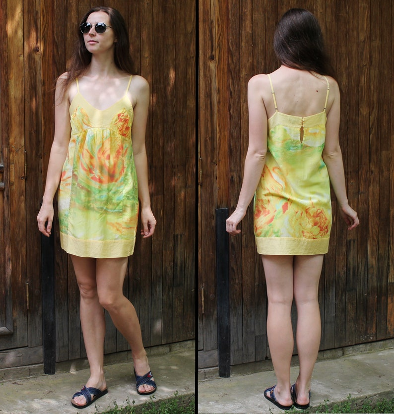 Vintage cotton silk mini dress Size ML Summer flirty dress  Beach colorful tunic Tie due pattern women/'s top Multicolor dress US size 810