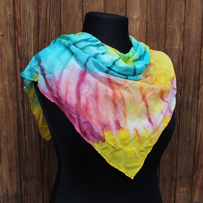 7bd9f4be9 Vintage tie dye silk shawl Psychedelic hand made scarf Batik | Etsy
