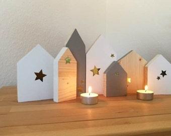 Häuser Aus Holz Mit Stern Zum Aufstellen, Holz Deko, Adventsdeko,  Weihnachtsdeko