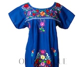 Women 39 s Traditional Mexican Dress Embroidered FIESTA Style - ROYAL BLUE - Dresses All Sizes Unique Embroidery Short Sleeve Maxi Dress