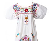 Women 39 s Traditional Mexican Dress EMBROIDERED FIESTA Style - WHITE - Dresses All Sizes Unique Embroidery Short Sleeve Maxi Dress