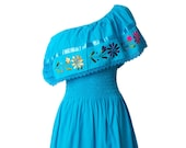 Women 39 s ONE SHOULDER Style Mexican Dress Embroidered - Turquoise - Dresses One Size Fits Small thru Large Embroidery Maxi Dress