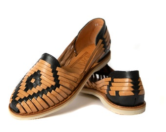 4f71028a18f2 Women s Mexican Sandals Huarache Catrina Style BLACK TAN All Sizes  Available Also in Half Sizes SIDREY Handmade Authentic Leather
