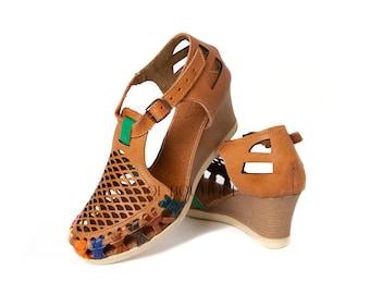 e61975b3f541 CLOSED Toe Women s Mexican Huarache Sandals - Chedron WEDGE  007 - Sandals  Authentic Huaraches Sandals Handmade Premium Soft