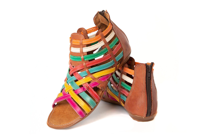 MEXICAN SANDALS Women/'s OPEN Toe ORANGE//CREME with Buckle Flats Huarache Sandal