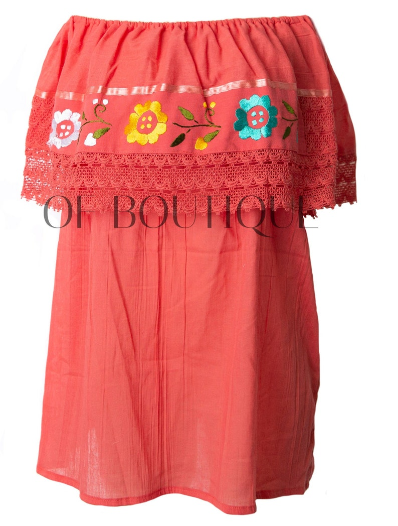 Women/'s CROCHET Mexican Blouse FIESTA Style Blouses One Size Fits All Embroidery Off Shoulder Embroidered Sheer Top CORAL