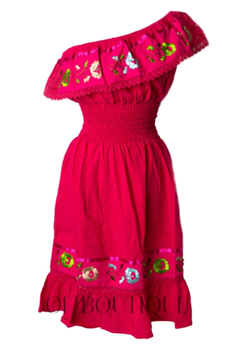 Fuchsia Dresses One Size Fits Small thru Large Embroidery Maxi Dress Women/'s ONE SHOULDER Style Mexican Dress Embroidered