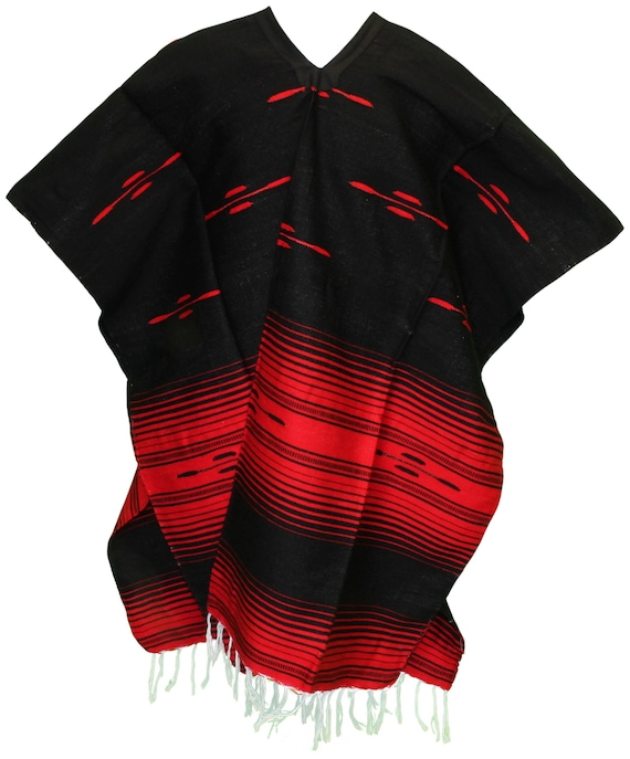 MEXICAN PONCHO Tribal Style BlackRed Combo Handmade Soft Smooth Baja Serape Sarape Style Unisex One Size Fits Most