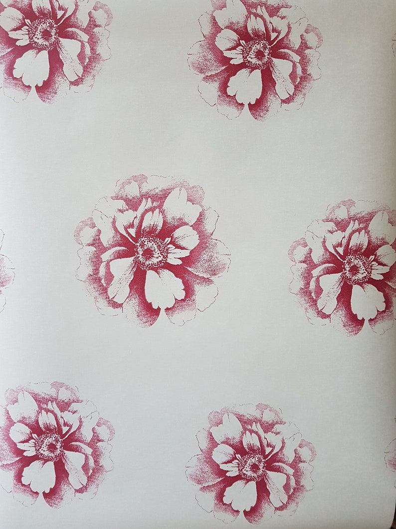 Vintage Floral Wallpaper In Cranberry Etsy