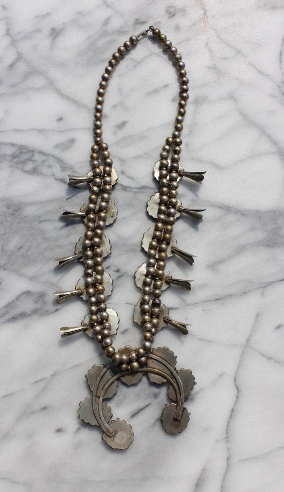 Vintage Turquoise Squash Blossom Necklace - image 8