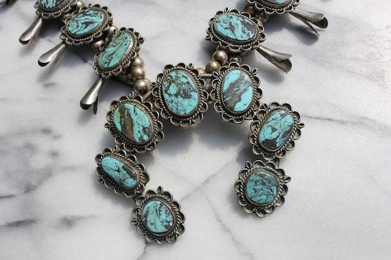 Vintage Turquoise Squash Blossom Necklace - image 3