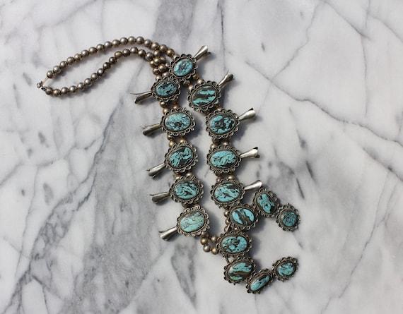 Vintage Turquoise Squash Blossom Necklace - image 10