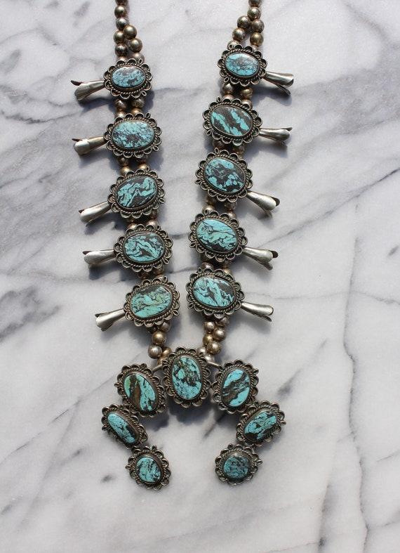 Vintage Turquoise Squash Blossom Necklace - image 2